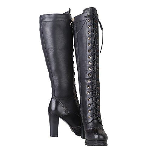 d8514635d90c Women s Retro Sheepskin + PU Leather Lace Up Block Heel Punk Knee High  Dress Boots