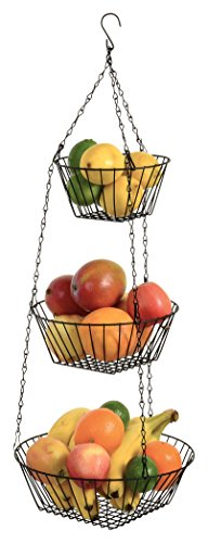 Durable 3-Tier Round Iron Hanging Basket - 25in Long / Powder coated in Black