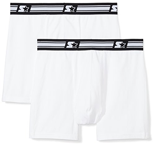 Athletic Cotton Briefs - Starter Men's 2-Pack Stretch Performance Cotton Boxer Brief, Prime Exclusive, White/White, XX-Large