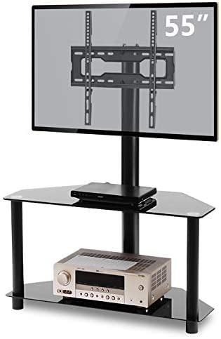 TVON Swivel Glass TV Stand with Height adjustable Mount and 2-Tier Storage Shelves for 32 37 42 47 50 55 inch Plasma LCD LED QLED Flat Curved Screen TVs, 3-in-1 Black Tempered Floor Corner Media stand
