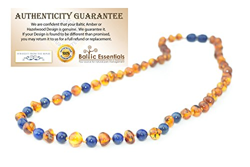 - ADHD Baltic Amber Teething Necklace for Babies Cognac Lapis Lazuli Baby, Infant, Toddlers Polished Drooling & Teething Pain Reduce Properties Baltic Jewelry Twist-in Screw Clasp (Cognac Lapis Lazuli)