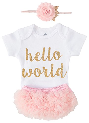 OoSweetCharlotteoO Newborn Baby Girl Coming Home Outfit Hello World Bodysuits 3pcs ()