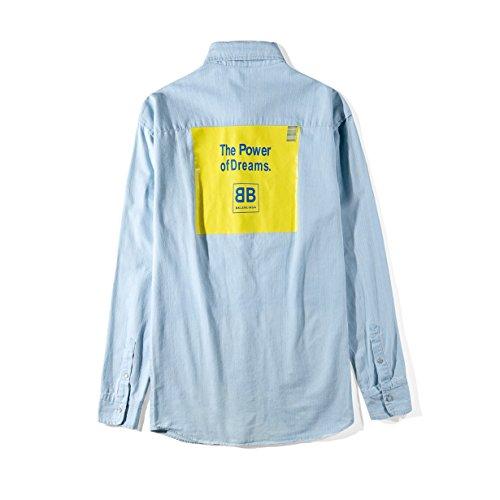 簡単な救いスローBALENCIAGA バレンシアガ デニムシャツ バック 黄色いロゴ ファッション ワイシャツ 長袖 学院風 薄いブルー ユニセックスで