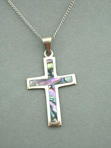 (Alpaca Silver and Abalone Shell Cross Necklace Fashion Jewelry New #ID-156)