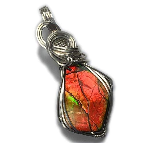 (Rocks2Rings Ammolite Pendant Sterling Silver - Rainbow, Jewelry for Women, Black Leather Necklace, Upgraded Elegant Gift Box, Your Choice of Multi-Colors, Red-Green-Orange or Blue-Green)