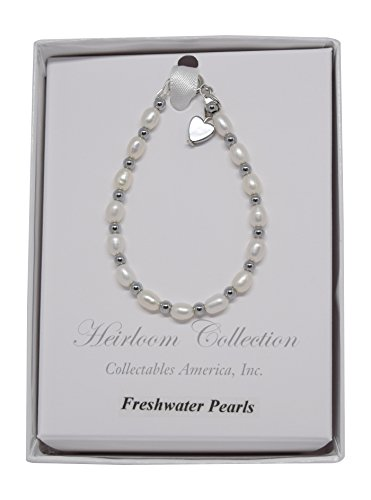 Girls Freshwater Pearl and Silver Beads Bracelet with Rhodium Heart Charm (5 (Pearl Strand Heart Bracelet)