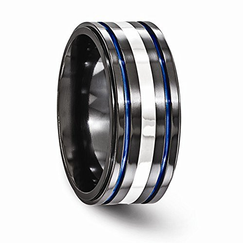 Edward Mirell Black Titanium w/ Sterling Silver & Blue Anodized Groove 10mm Wedding Band - Size 12