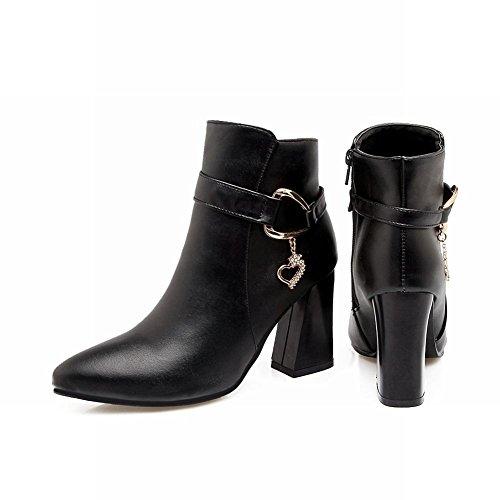 Carolbar Mujer's Pointed Toe Pendant High Heel Zip Botas Cortas Negro