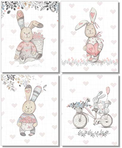 Nursery Kids Wall Decor - Bunny Rabbit Art Prints - (Set of 4) - 8x10 - Unframed