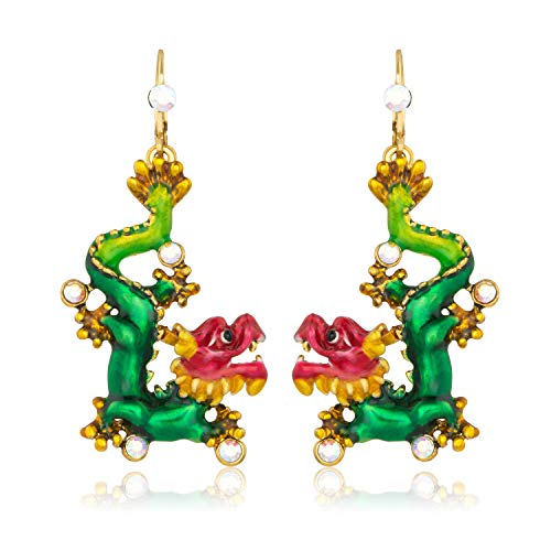 - Superchic's Chinese Dragon Earring 18K Plated Womens' Earrings Women Jewelry with Gifts Box (Green, alloy)