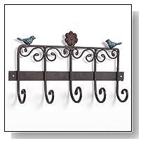 Bird & Flower Scrollwork Design Wall Mounted Bronze Cast Iron Hanging Coat Storage Rack with 5 Hooks