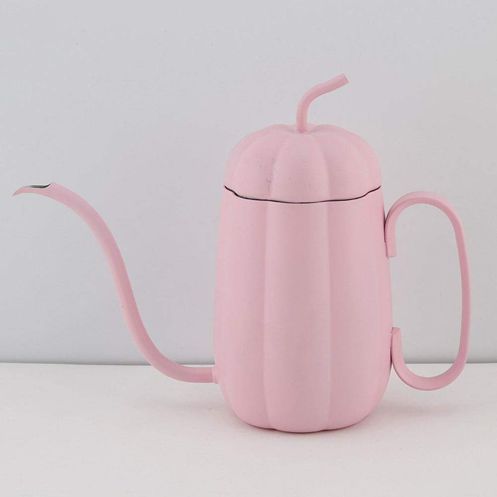 Hand-washed Coffee Pot, Pumpkin Shape 304 Stainless Steel Long Mouth Thin Mouth Pot, With Lid Hanging Ear Coffee Hand Punching Pot, Great To Use At Home, Restaurants, Bars And Parties,450ML, Pink
