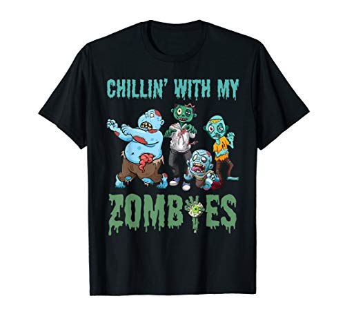 Chillin With My Zombies Halloween Boys Kids Funny T-Shirt