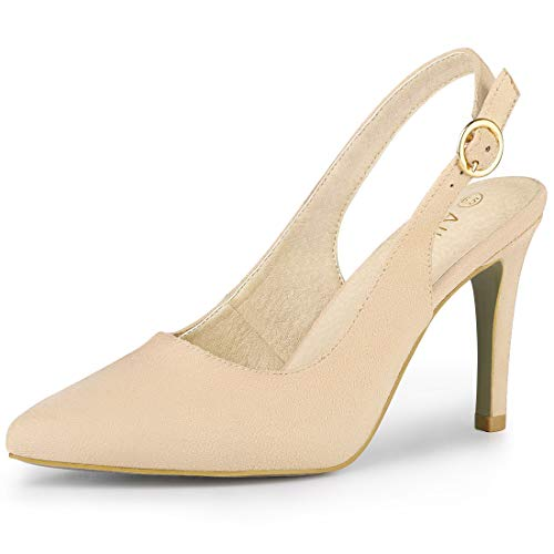 Allegra K Women's Pointed Toe Pumps Beige Slingback Heels - 8 M US