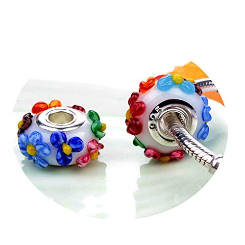 Fashbag Bead Charms for Jewelry Making,1Pc Silver 925 Murano Glass Flower Bead Charms Fit Original Bracelet DIY Jewelry Making Women Gifts N047 A886(1)