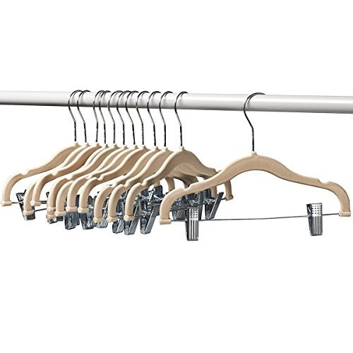 A1-hangers 12 PACK Kids hangers with clips Ivory (13'' length) baby Clothes Hangers Velvet Hangers use for skirt hangers Clothes Hanger pants hangers Ultra Thin No Slip kids hangers