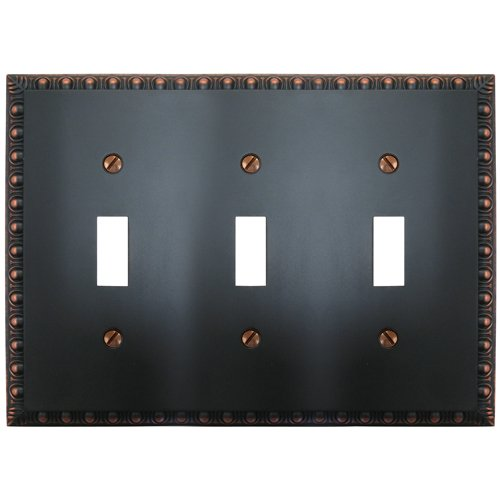Bronze Toggle Switchplate - Amerelle Egg & Dart Triple Toggle Cast Metal Wallplate in Aged Bronze