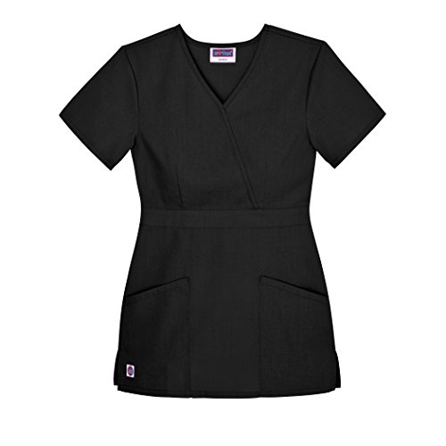 Sivvan Women's Scrubs Mock Wrap Top (Available in 12 Colors) - S8302 - Black - XS