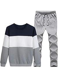 pipigo Men Sweatshirt Pants Outfit Sportwear Color Block Casual Tracksuit Set