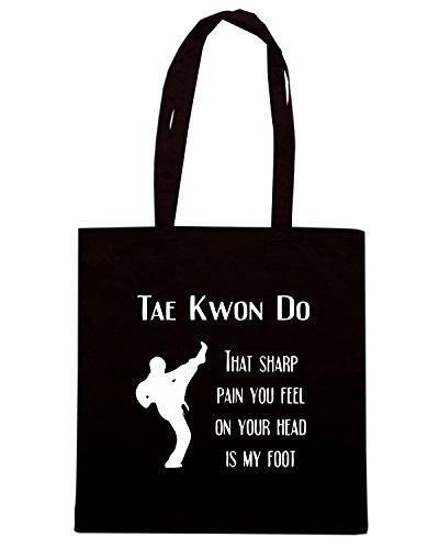 T-Shirtshock - Bolsa para la compra TAM0175 taekwondo sharp pain dark tshirt Negro