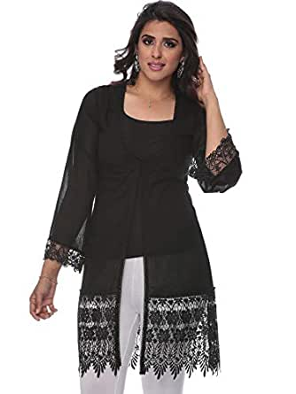 Cocum Tunic Top for Women - 16 UK, Black