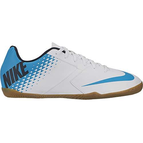 Nike Men's Bombax Indoor Soccer Shoe White/Blue Lagoon/Black Size 7.5 M US