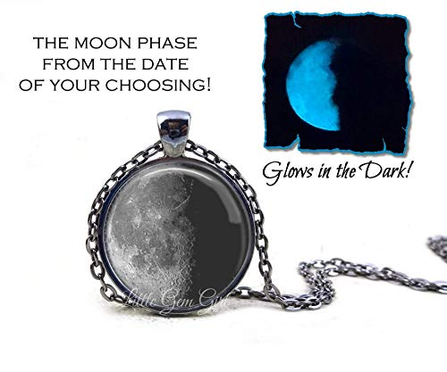 Glowing Jewelry - Your Custom Birth Moon Date Necklace or Key Chain Charm - Personalized Birthday Lunar Phase Pendant - Anniversary, Adoption, Valentine's or Wedding Gift ()