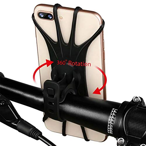 (AONKEY Universal Bike Phone Mount, Silicone Holder Adjustable for Bicycle Handlebar fits iPhone Xs Max/XS XR X/6S/7/8 Plus, Galaxy S10+/S10/S10e/S9+/S9/S8, 4.0
