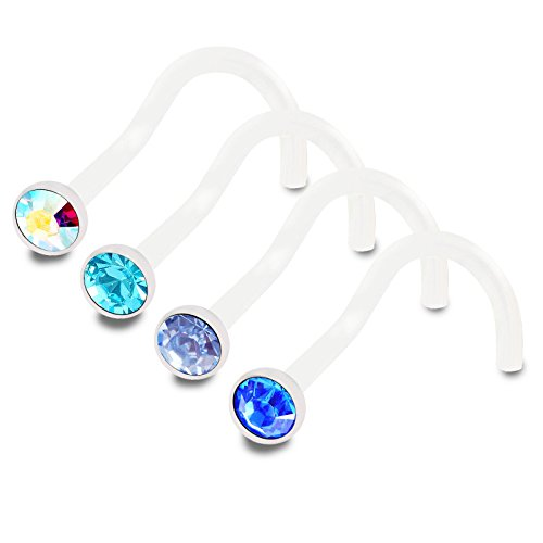 bodyjewellery 4pcs 18g 1.0mm Nose Screw Flexible Acrylic Nostril Rings Piercing Jewelry 2.5mm Crystal BPAF AB LSP SP ()