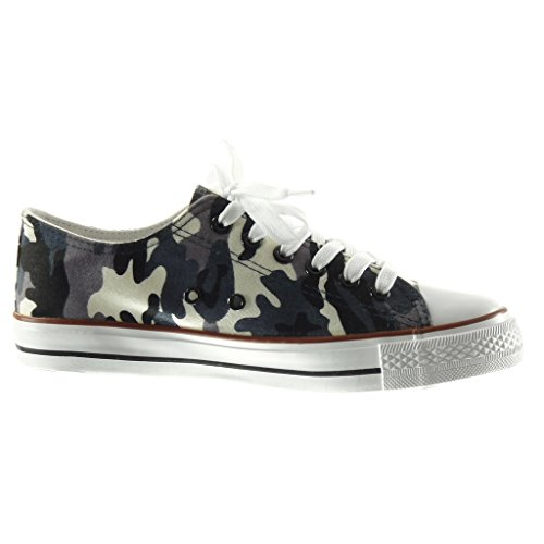 Angkorly Women's Fashion Shoes Trainers - Camouflage Flat Heel 2.5 cm Blue 20YSgx