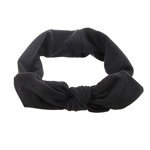 Mwfus Women's Elastic Stretch Plain Rabbit Bow Style Hair Band Headband Turban