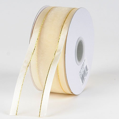 "Organza w/ Metallic Gold Satin Edge Ribbon Gift Wrap Arts and Craft 25 Yards (5/8"", IVORY)"