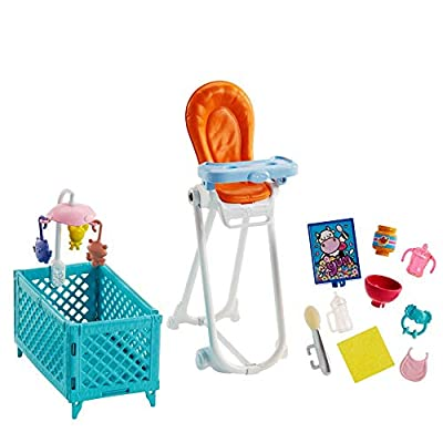 Barbie Babysitting Playset with Skipper Doll, Color-Change Baby Doll, High Chair, Crib and Themed Accessories: Toys & Games