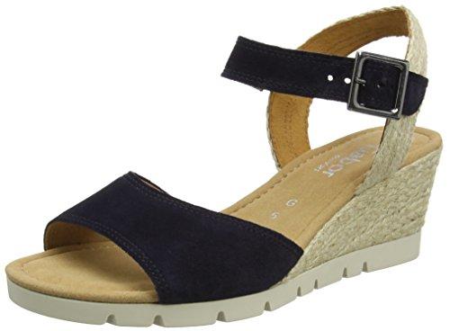 Gabor Shoes Comfort, Sandalias con Cuña para Mujer Azul (ocean Jute)