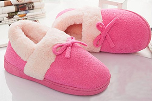 Pantofole Da Donna In Cotone Unisex Da Donna Maggio Unbambino Caldo Inverno Pantofole Da Donna Moda Paio Di Scarpe Con Bowknot Rosa