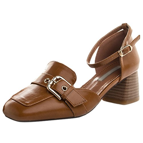 CHENGYANG Damen Schuhe Geschlossen Blockabsatz Knöchelriemen Schnalle Pumps Sandalen Gelb#3