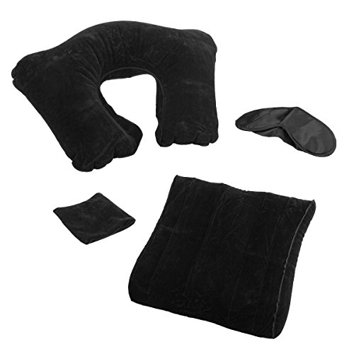 3pc E-Z Travel Set Inflatable Travel Pillow For Airplanes Eye Shade Back (Class Travel Blanket Set)