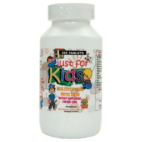 Vitaminas para nios Just for Kids. Suplemento para todo un ao.Vitaminas y Minerales para el crecimiento, memoria y apetito en forma de dulce para nios de 4 aos en adelante. by Nutrisalud Products