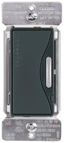 Eaton RF9540-NSG ASPIRE Single-Pole Multi-Location Master Dimmer Light Switch, Silver Granite Finish