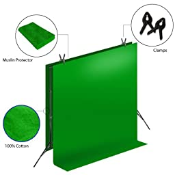 LimoStudio Photo Video Muslin Kit, Muslin Background Stand Support System, Seamless 100% Cotton Muslin Backdrop, Green / Black Backdrop Background, AGG268