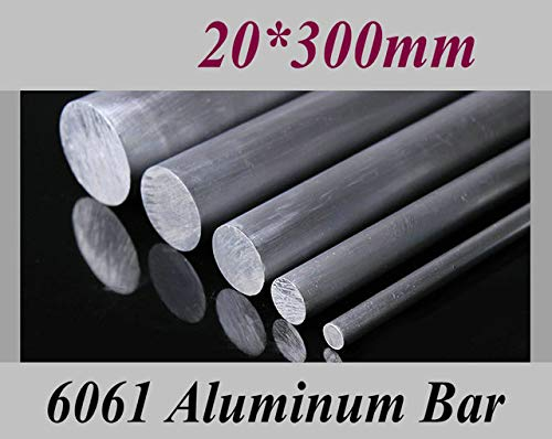Ochoos Diameter 20mm 25mm 30mm Length 300mm Aluminum 6061 Round Bar Aluminium Strong Hardness Rod for Industry or DIY - (Color: Diameter 20mm) ()