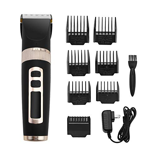 Powerextra Hair Clipper & Cordless Beard Trimmer for Men with 7 Combs Brush and Thinner Included, USB Rechargeable with LED Display