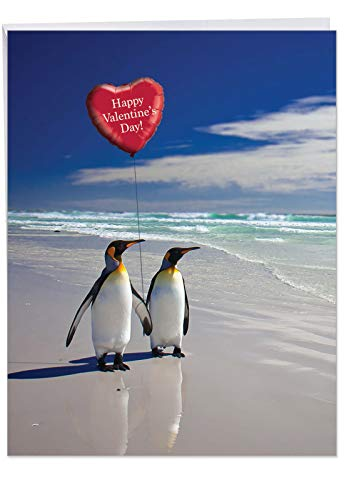 Extra Large Beach Penguins Card with Envelope (Letterhead 8.5 x 11 Inch) - Romantic Vacation, Cute Animal Valentine's Greeting Card - Funny Stationery Valentines Card for Wife, Husband J3514VDG ()