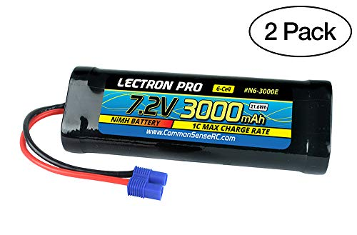 (2 Pack) Lectron Pro NiMH 7.2V 6-Cell 3000mAh Flat Pack with EC3 Connector for 1/10 Scale Cars, Trucks, and Buggies