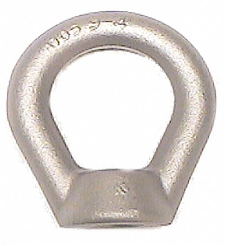 10,000 Lb Capacity, M20x2.5 Thread, Carbon Steel Heavy Duty Lifting Eye Nut Grade C-1030, 5'' Long x 5'' High, 2-1/4'' Inside & 4'' Outside Eye Diam, 1-9/16'' Bell/Base Width by Made in USA