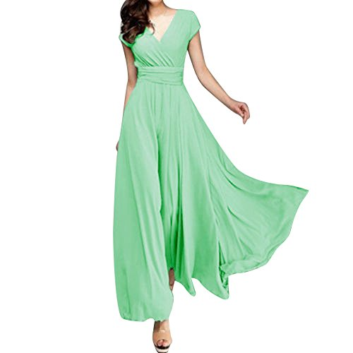 AgrinTol Women Casual Solid Dress Chiffon V-Neck Evening Party Long Dress Mint -
