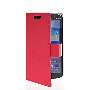 GUANHAO Slim Wallet Card Pouch Flip Leather Etui Stand Case Cover For Samsung Galaxy Grand 2 G7106 Red