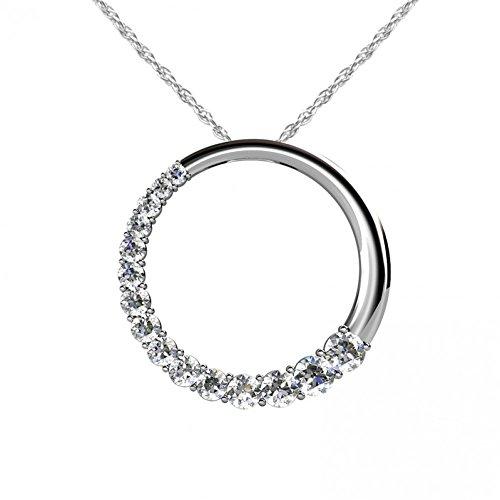 1.50 ct. Graduated Round Cut Diamonds Circle Pendant