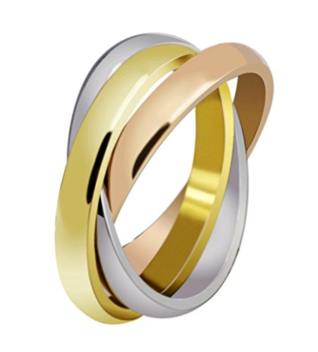 Womens Stainless Steel Trinity Ring Tri-Tone Interlocked Rolling Wedding Band Gold Rose Silver Size 6