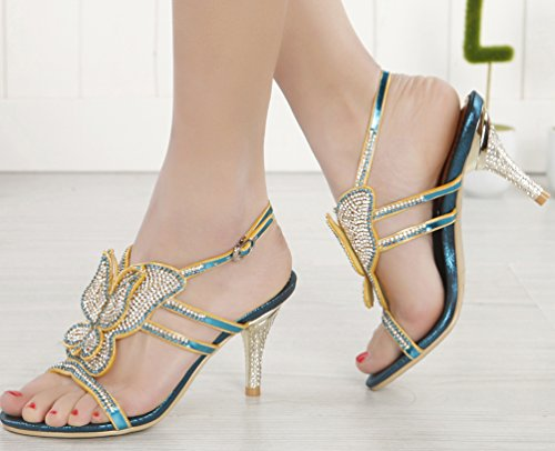 Blue Cone stiletto Bridesmaid Show Dress Heel Fiber Micro Wedding Abby Unique Bride Party Sandals L019 Womens ZTwXzq64